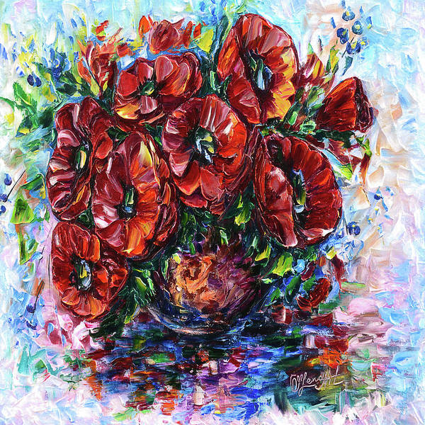 Painting - Red Poppies In A Vase by OLena Art - Lena Owens
