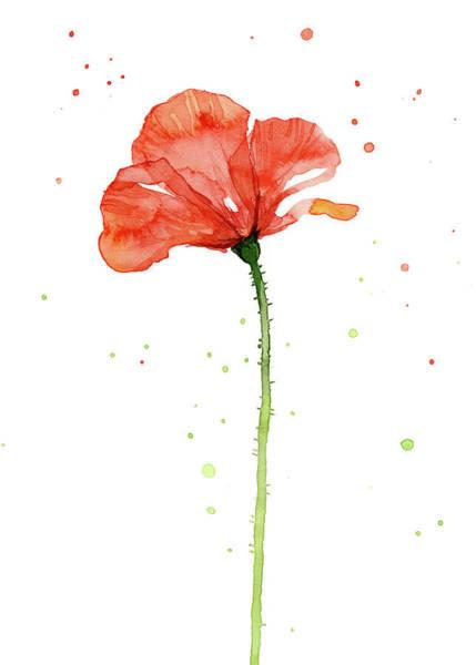 Wall Art - Painting - Red Poppy Flower by Olga Shvartsur