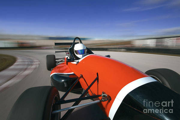 Wall Art - Photograph - Red Racing Car Driving At High Speed In by Guillermo Pis Gonzalez