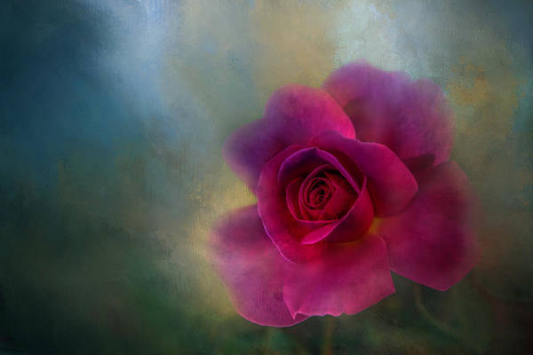 Wall Art - Digital Art - Red, Red Rose Textured by Terry Davis