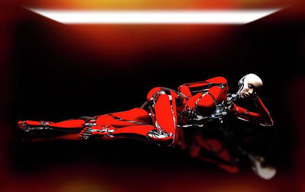 Cyborg Digital Art - Red Reflection by Bob Orsillo