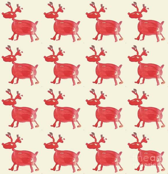 Red Reindeer Pattern Art Print