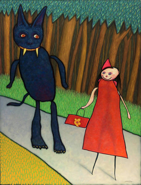 Riding Painting - Red Ridinghood by James W Johnson