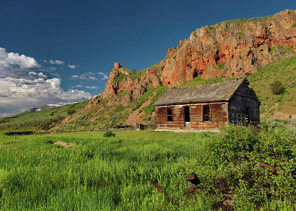Ghost Town Photograph - Red Rock Cabin by Leland D Howard