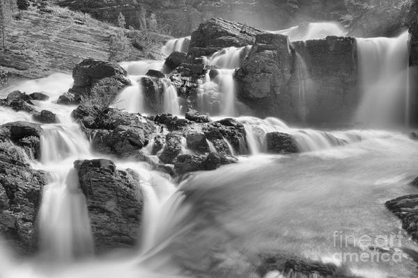 Photograph - Red Rock Falls Spring Closeup Black And White by Adam Jewell