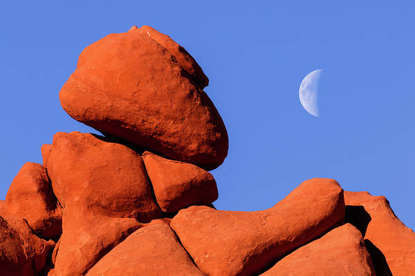 Wall Art - Photograph - Red Rock Formation And Moon, Blue by Adam Jones