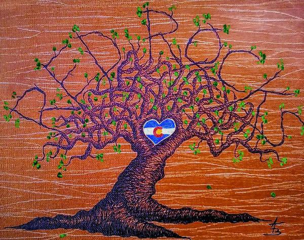 Drawing - Red Rocks Lta W/ Foliage by Aaron Bombalicki