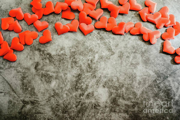 Photograph - Red Romantic Hearts Framing A Textured Marble Background For Use On Valentine's Day by Joaquin Corbalan