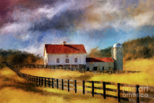 Digital Art - Red Roof Barn In Autumn by Lois Bryan