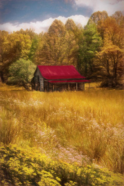 Photograph - Red Roof Country Oil Painting by Debra and Dave Vanderlaan