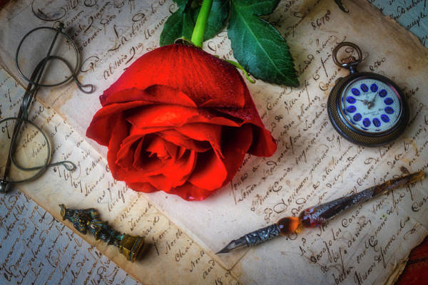 Wall Art - Photograph - Red Rose And Old Letters by Garry Gay