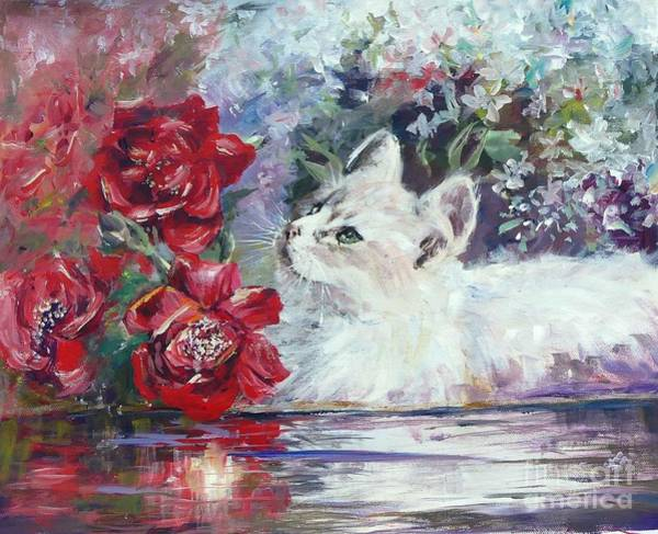 Painting - Red Roses And White Cat by Ryn Shell