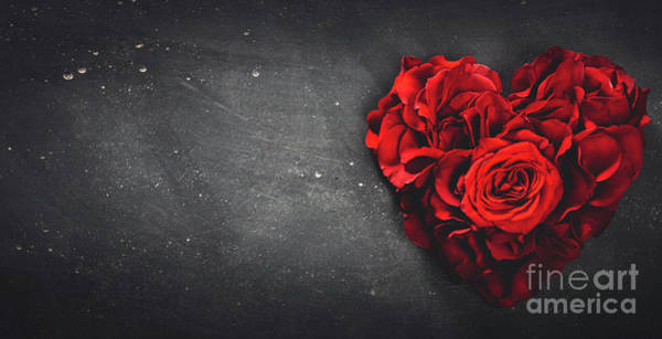 Wall Art - Photograph - Red Roses In Heart Shape On Grey Stone Background by Michal Bednarek