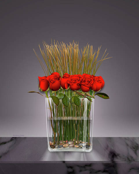 Painting - Red Roses In Vase by David Arrigoni