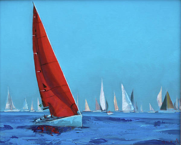 Painting - Red Sail At The Regatta by Trina Teele