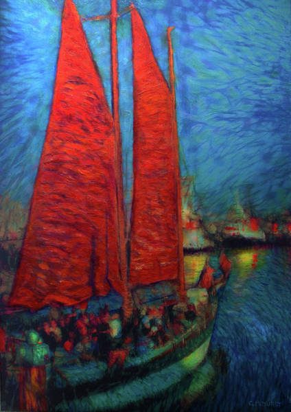 Impressionistic Sailboats Painting - Red Sails In The Sunset by Michael Durst