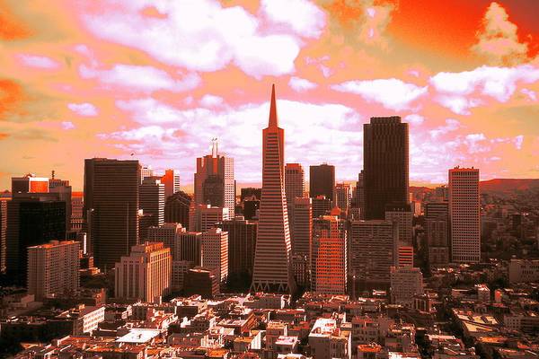 Photograph - Red San Francisco Skyline - Digital Artwork by Peter Potter
