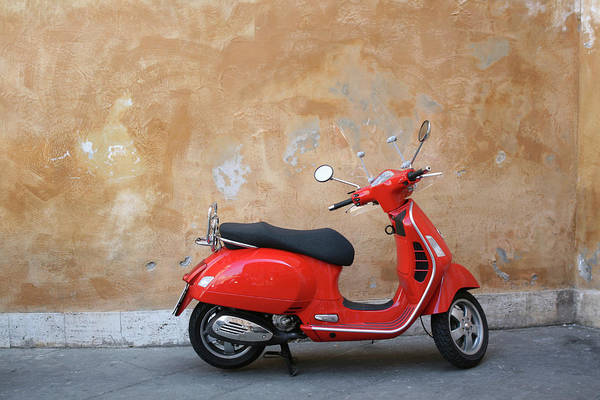 Old Photograph - Red Scooter And Roman Wall, Rome Italy by Romaoslo