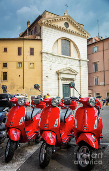 Photograph - Red Scooters by Inge Johnsson