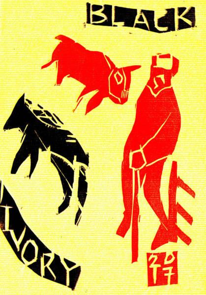 Digital Art - Red Shepherd Black Ivory Woodcut Poster 11 by Artist Dot
