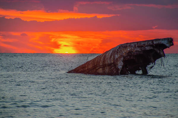 Photograph - Red Sky At Sunset Point - Cape May New Jersey by Bill Cannon