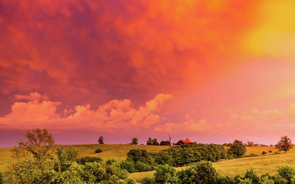 Wall Art - Photograph - Red Sky Over Kentucky Countryside by Alexey Stiop