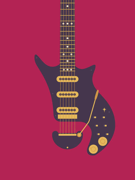 Glam Rock Digital Art - Red Special Guitar - Burgundy by Ivan Krpan