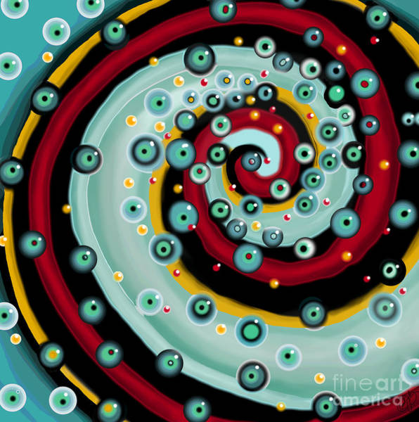 Fish Eggs Digital Art - Red Spiral by Carol Jacobs