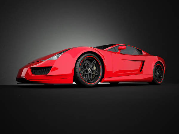 Motor Sport Photograph - Red Sport Car On Black Studio Background by Firstsignal