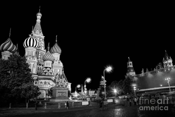 Wall Art - Photograph - Red Square In Moscow, Black And White by Delphimages Photo Creations