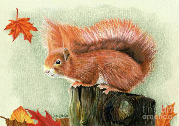 Stump Painting - Red Squirrel In Autumn by Sarah Batalka