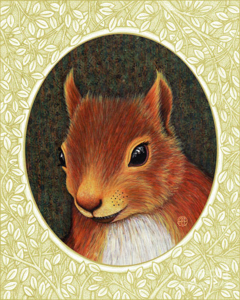Painting - Red Squirrel Portrait - Cream Border by Amy E Fraser