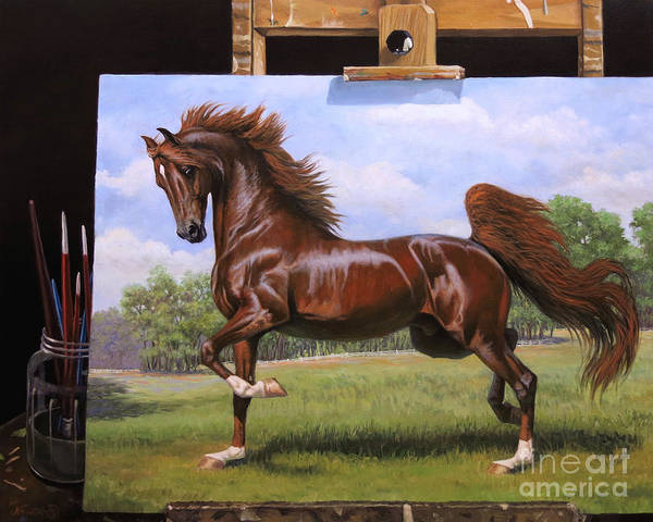 Wall Art - Painting - Red Stallion On Easel by Jeanne Newton Schoborg