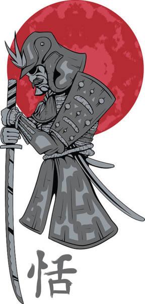 Digital Art - Red Sun Samurai by Passion Loft