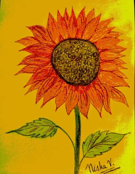 Wallpaper Mixed Media - Red Sunflower by Nishma Creations
