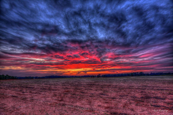 Wall Art - Photograph - Red Sunset Cotton Field Agriculture Farming Landscape Art by Reid Callaway