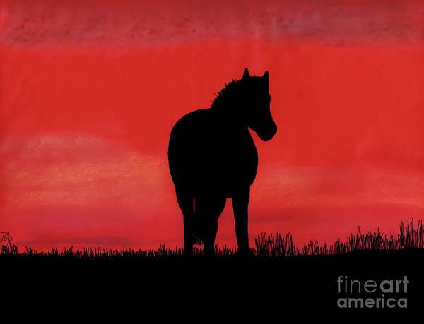 Red Sunset Horse Art Print