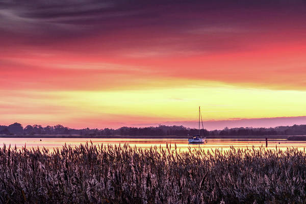 Yarmouth Photograph - Red Sunset On Hickling Broads, Norfolk by Stevendocwra
