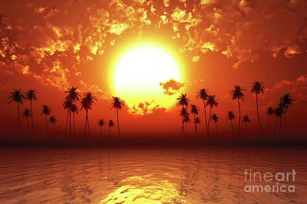 Wall Art - Photograph - Red Sunset Over Tropic Sea by Aleksey Tugolukov