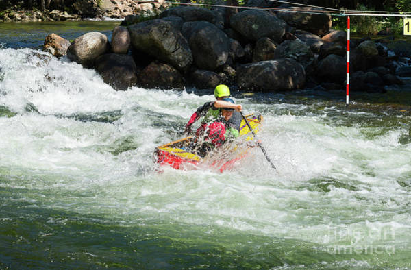 Photograph - Red Tandem Canoe In Rapids by Les Palenik