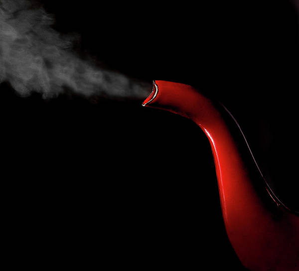 Teapot Photograph - Red Teapot Spout With Steam by John Manno