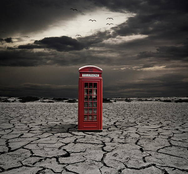 Pay Photograph - Red Telephone Booth by By Sigi Kolbe