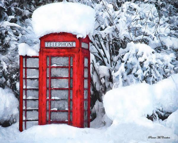 Digital Art - Red Telephone Box by Pennie McCracken