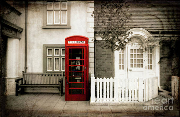 Wall Art - Photograph - Red Telephone Vintage Sepia Spot Color Photography by Tina Lavoie