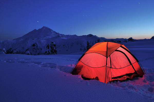 Tent Photograph - Red Tent And Mt. Baker by Lijuan Guo Photography