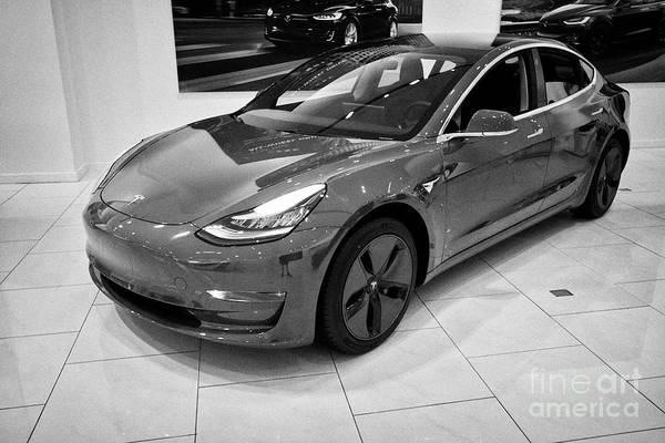 Wall Art - Photograph - red Tesla Model 3 in a tesla gallery showroom in Florida USA United States of America by Joe Fox