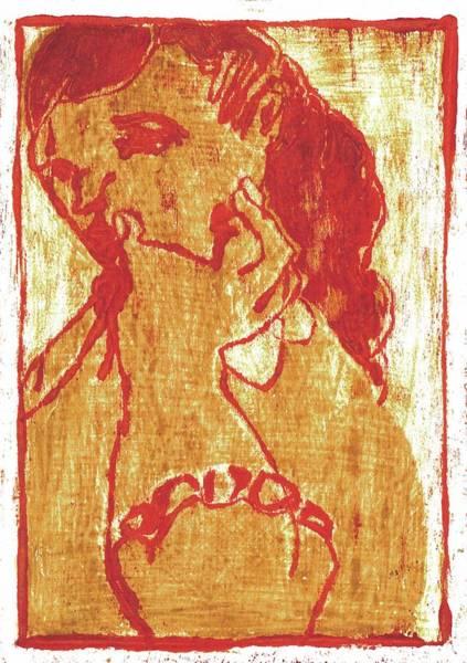 Painting - Red Thumb Cheek Girl by Artist Dot