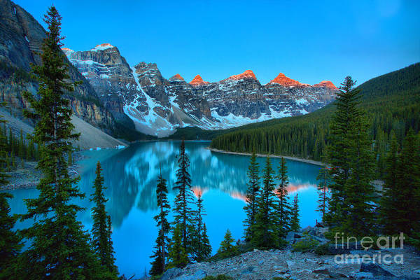 Photograph - Red Tip Sunrise At Moraine Lake by Adam Jewell