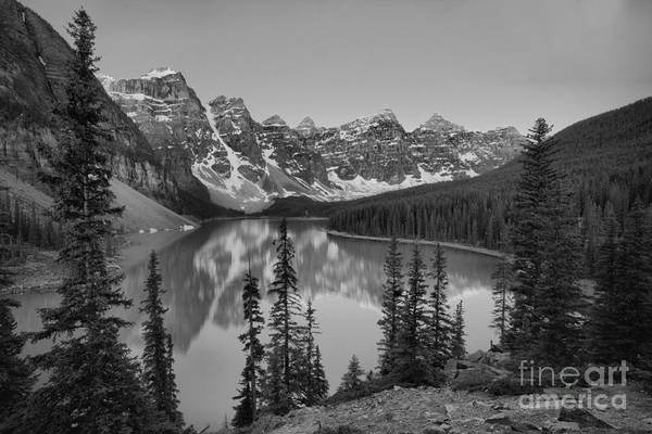 Photograph - Red Tip Sunrise At Moraine Lake Black And White by Adam Jewell