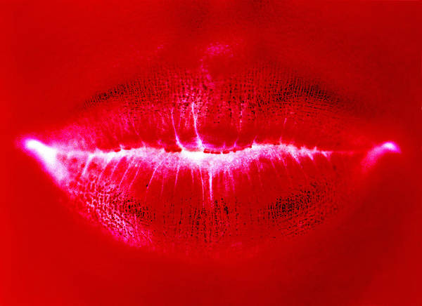 Close Up Photograph - Red Toned Womans Lips by Ade Groom